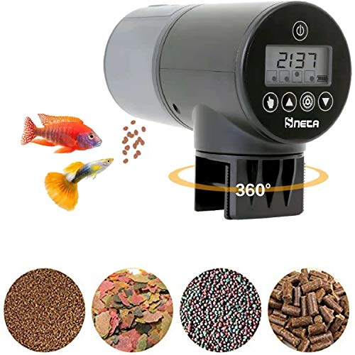 Sneta Futterautomat Aquarium, Fischfutterautomat Automatischer 200ml Große Kapazität Mit USB-Ladekabel Und LCD Display Geeignet Für Aquarium, Fischtank Und Schildkrötentank