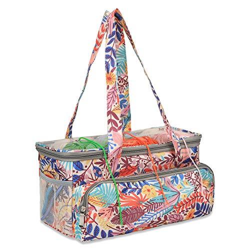 Bolsa para tejer, bolsa de almacenamiento de hilo, bolsa de ganchillo, bolsas de manualidades con correa de hombro, organizador de punto grande para almacenamiento de agujas (Y02)