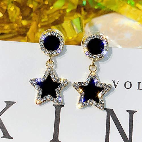 Jovono Fashion Oorbellen met strass ster cirkel oorbellen voor vrouwen en meisjes (goud)