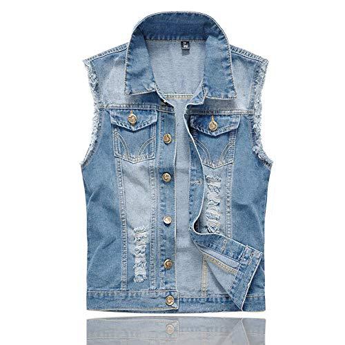 Men's Sleeveless Jacket Button Down Casual Lapel Denim Vest Ripped Hole Plus Size (Sky Blue, M- Tag XXL BUST 40)