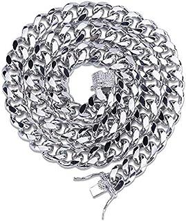 قلادة رجالية نحاسية انيقة، مطلية بالماس الكوبي، 46 سم، مزودة مشبك مجوهرات الهيب هوب من سيلكرود