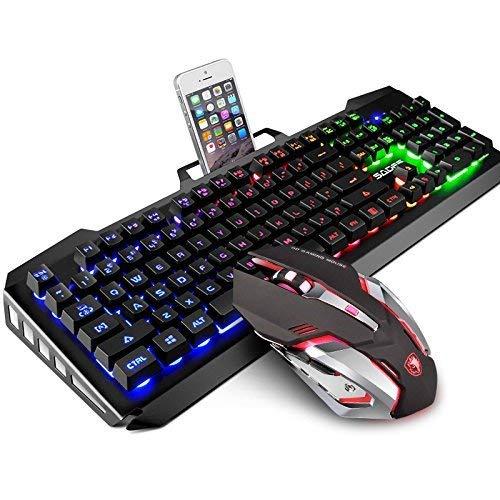 Gaming Keyboard and Mouse Combo,SADES Gaming Mouse and Keyboard,Wired Keyboard with Colorful
