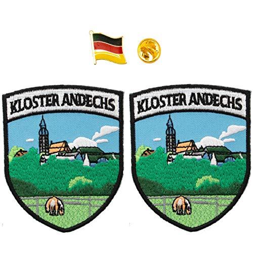 A-ONE Aufnäher, Andechs-Monatsschild, 2 Stück + Deutschland-Flagge, Stoff-Dekoration für Taschen & Metall-Pinabzeichen