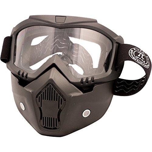 Preisvergleich Produktbild PiWear Motorradbrille Invase mit abnehmbarer Maske,  schwarz mit klarem Glas