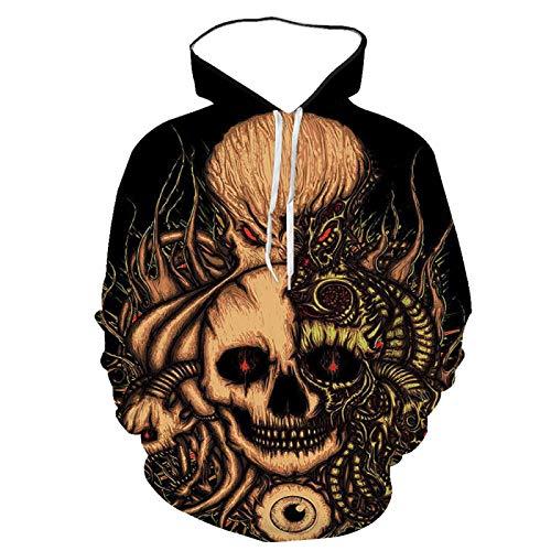 3D impresión digital cuello redondo sudadera con capucha cráneo pullover suéter-hombres suéter