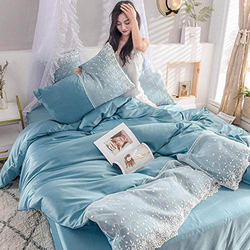 NBVCX Home Decoration Bedding Set Washed silk four-piece summer bedding princess style summer cool ice silk sheets quilt cover silky naked sleep-Dark green_2.2m (7 feet) bed