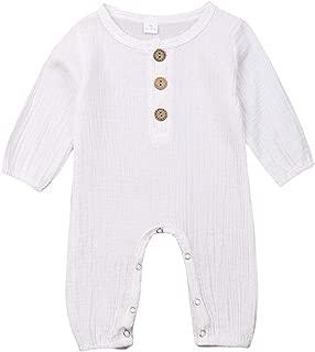 Newborn Baby Girl Boy Jumpsuit Romper Cotton Button Down Short/Long Sleeve One Piece Bodysuit Onesie Newborn Boy Clothes