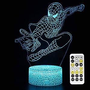 Superhero 3D Night Light,QIKI Spiderman Toys for Boys, Fun Mens Gadget Gifts Ideas, Party Christmas Birthday Favours Gift for Kids Girls Boys