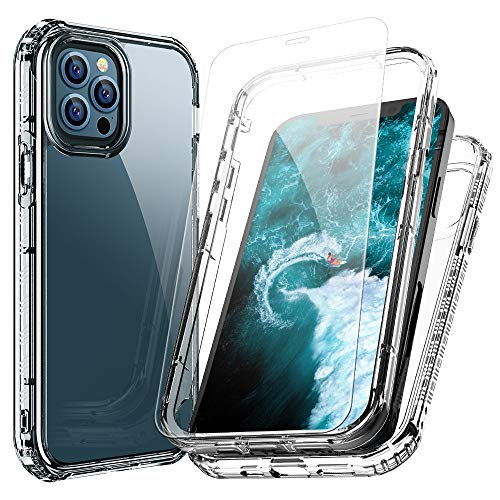 FLOVEME Compatible with iPhone 12 Case iPhone 12 Pro Case with Screen Protector Tempered Glass (2 Pack) 6.1inch 2 in 1 Clear Phone Cases Compatible for iPhone 12 iPhone 12 Pro 2020 5G Full Body Cover