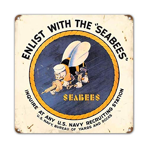 ZYPENG Vintage Sea Bees Metal Signs Military Tin Sign Plaques Poster for Garage Pub Bar Man Cave Home Wall Decor 12 x 12 inches