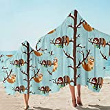 Sleepwish Cute Sloth Hooded Beach Towel Hipster Woodland Animals Bath and Beach Soft Blanket Winter Forest Blue White Towel for Surfing Swimming Bathing (Adults, 1 Piece)