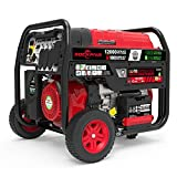 Rockpals 12,000-Watt Dual Fuel Portable Generator, CARB EPA Compliant Gas/Propane Generator With Electric Start, 120V/240V 20A/30A/50A AC, 12V DC Output, Up to 20 Hours For Home