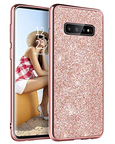 YINLAI Samsung Galaxy S10 Case Slim Glitter Shiny Full Body Protective Shockproof Anti Scratch Non Slip Girl Women Phone Cover Case for Samsung Galaxy S10 6.1 inch, Rose Gold/Pink
