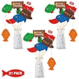 21 Pack Gone Fishing Theme Little Fisherman The Big One Party Centerpiece Sticks Bobber Table Toppers Kids Fishes Reel Fun Birthday Ideas Photo Props Decorations