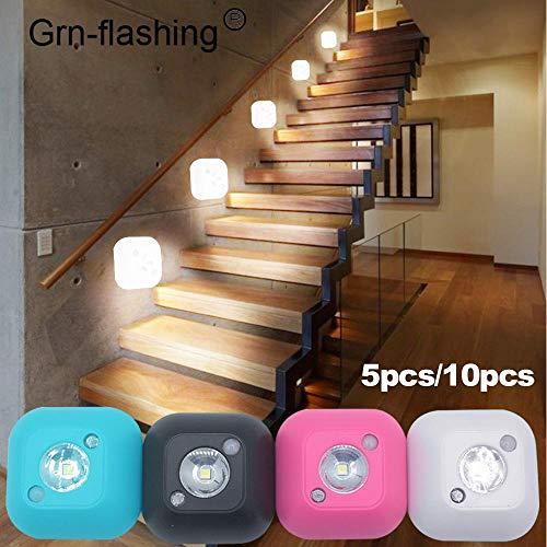 Nachtlicht 5 10 Pcs Smart Wireless Led-Sensor Nachtlicht Pir Magnetische Infrarot-Bewegung Batteriebetriebene Wandleuchte Schrank Treppenbeleuchtung Weiß
