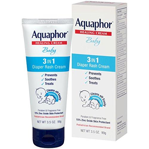 Aquaphor Baby 3 in 1 Diaper Rash Cream  Prevents Soothes and Treats Diaper Rash  35 oz Tube