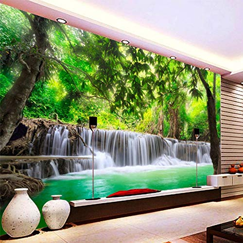 HUANGYAHUI Hd Forest River Waterfall Decorative Backdrop Wall Painting 3D Stereo Straw Texture Wall Mural Living Room Dining Room Wallpaper Roll