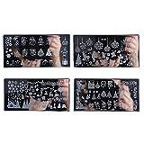 Frcolor 4pcs nail art stamping piatti manicure strumenti stencil per Natale fai da te...