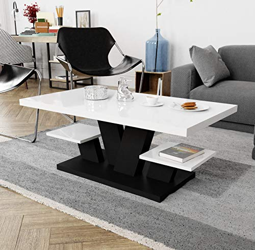 Viosimc Coffee Table for Living Room White & Black with Two Shelves, Stylish Modern Coffee Table White High Gloss Top. Center Living Room Table for Tea and Coffee.