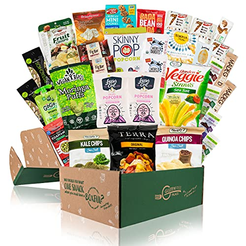 HEALTHY SNACKS CARE PACKAGE [32 Count] Holiday Gift Baskets | Plant-based Gluten Free, Dairy Free Snacks | Gluten Free VEGAN College Care Package by Snack Attack