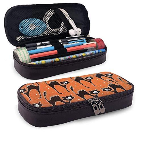 XCNGG Kosmetiktasche mit Federmäppchen Halloween Cat Fabric Scaredy Large Capacity Stationery Bag Basic Pencil Cases