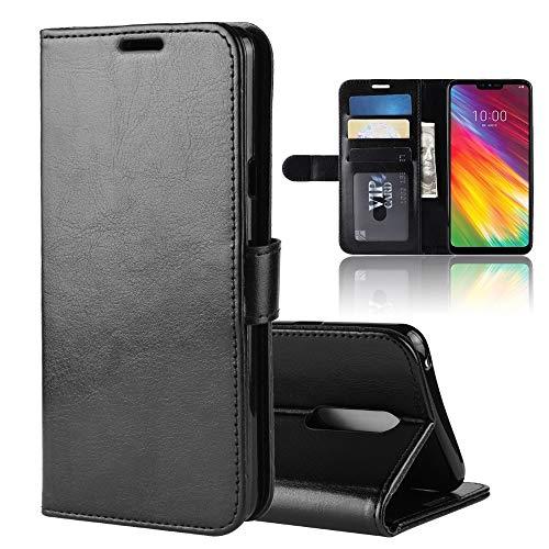 R64 Texture - Funda de piel con tapa para LG G7 Fit, con tarjetero, ranuras para tarjetas y billetera (color: negro)