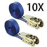YAOBLUESEA 10 x Correas de Amarre Resistencia rotura real 800 kg Correas de Sujección con Hebillas 6m x 25mm