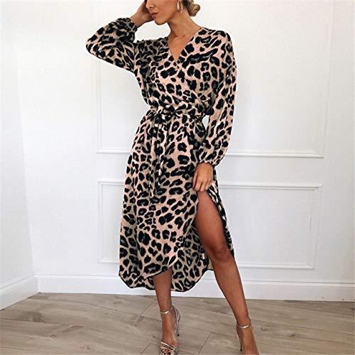 MZFRXZ Leopardenkleid Frauen Vintage Long Beach Kleid Lose Langarm V-Ausschnitt A-Linie Partykleid Vestidos De Fiesta XL Pink