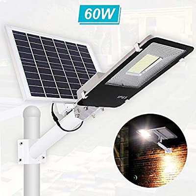 Solar Street Light 60W?Dusk to Dawn Solar Security Lamp 6500K IP65 Waterproof Solar Powered Flood Lights with Remote Control Security Area Night Lighting for Yard, Driveway, Village, Patio