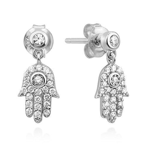 925 Sterling Silver CZ Hamsa Hand of Fatima Good Luck Symbol Dangle Drop Earrings 15 mm