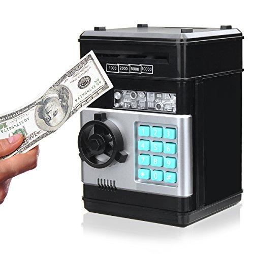 SAFETYON Spardose mit Passwort, Elektronisch Sparschwein für Kinder, Number bank Piggy Bank, Mini-ATM-Münze Banken Geschenke Zum Weihnachten und Geburtstag, mehrfaben schwarz