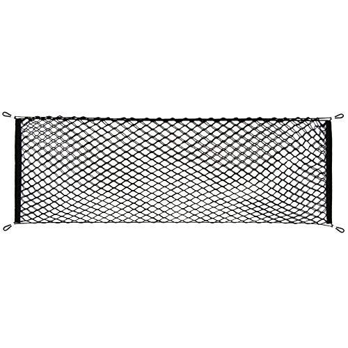 Adjustable Elastic Heavy Duty Cargo Net - Universal Stretchable Truck Net with Hooks | Organizer, Storage, Mesh, Nylon, Bungee | for Car, SUV, Truck, -Black