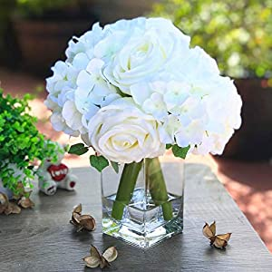 Rose and Hydrangea Mixed Flower Arrangements and Centerpieces in Vase