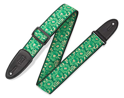 Levy's Leathers M8AS-GRN Asian Print Jacquard Weave Guitar Strap, Green