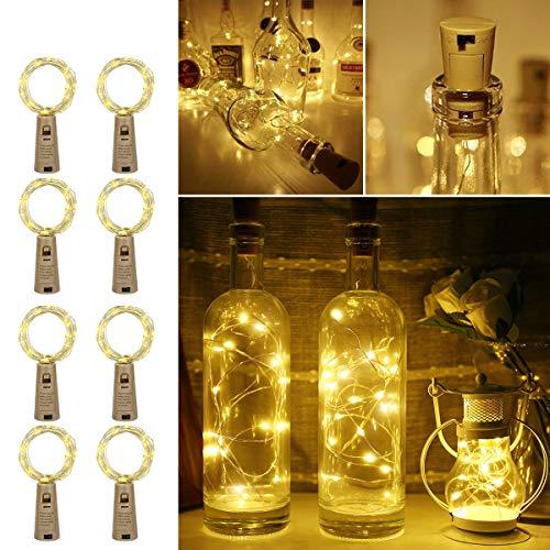 LE Flaschenlicht, 20 LEDs Weinflaschen Lichterkette, 8 Stück 2M Batteriebetrieben Flaschenlichterkette mit Kork, Kupferdraht Lichterketten für Zimmer Außen Innen Weihnachten Party Deko, Warmweiß