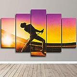 Cuadro sobre Impresión Lienzo 5 Piezas -Mural Moderno 5 Piezas,Freddie Mercury Rock Queen Dormitorios Decoración para El Hogar -No Tejido Lienzo Impresión- Modular Poster Mural-Listo para Colgar