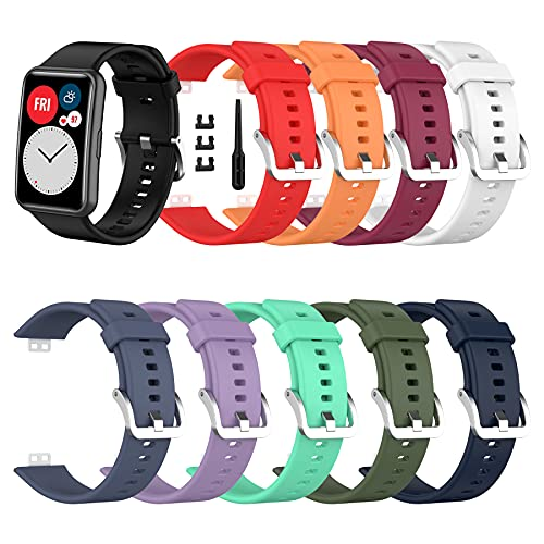 SenMore 10-teilige Armbänder Kompatibel mit Huawei Watch Fit Armband Ersatz Armband Ersatz Sport Silikonarmband Geeignet für Huawei Watch Fit