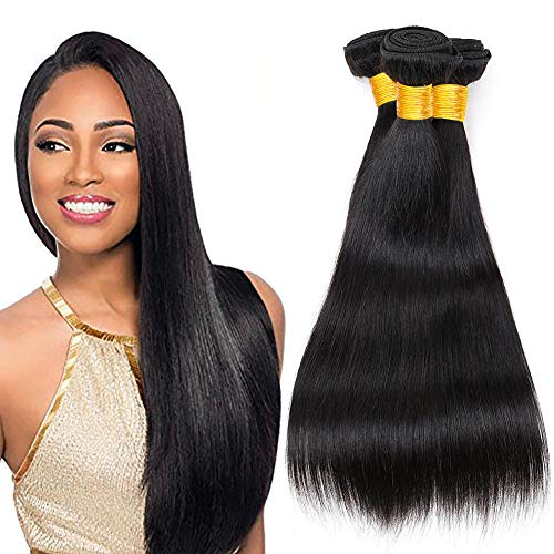 Ladiary capelli umani extension capelli veri tessitura 3 fasci di capelli umani lisci brasiliani extension capelli veri totale 300g 18 20 22 pollice