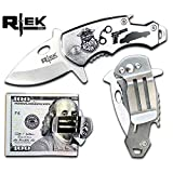 Rtek USA Tactical Money Clip Bottle Opener Folding Spring Assisted Open Knife 7 Variations Army, Navy, Marines, Special Forces, Fire Department, Police, Air Force, (Police)