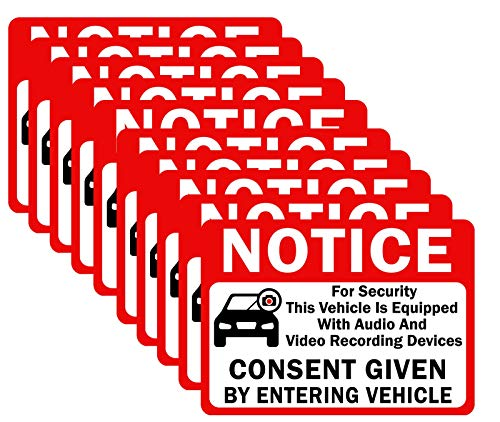 """10-Pack Double Sided 3.5""""x2.5"""" - Notice Vehicle is Equipped with Audio and Video Recording Devices Consent by Entering Car Sticker-Vinyl Decal, UV Protected, Waterproof, Indoor&Outdoor Use"""