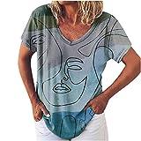 Blusa de manga corta y cuello en V para mujer, con estampado de graffiti, para verano, elegante, elegante, elegante, grande, talla grande, azul, S además de su talla