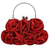 Mega Elegante bolso de mano de mujer con flores de seda, bolso de noche, bolso cruzado con cadena, diseño Kisslock, color Rojo, talla Einheitsgröße