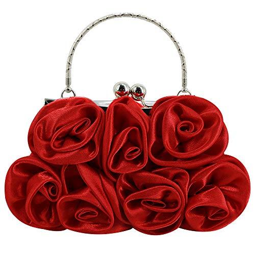 Mega Damen Elegante Handtasche Blumen Clutch Seide Abendtasche Henkeltasche Crossbody Bag mit Kette Kisslock Design (Rot)