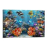WANLIC Pescado Sealife - Póster decorativo para acuario (20 x 30 cm)