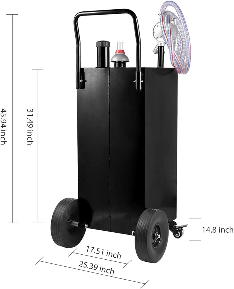 ACUMSTE 30 Gallon Gas Caddy fuel transfer pump tank Hand Siphon Pump 4 Flat-Free Solid Rubber Wheels Gasoline Storage Dispenser gas containers for Car Boat Motorcycle Lawn mowers tractors
