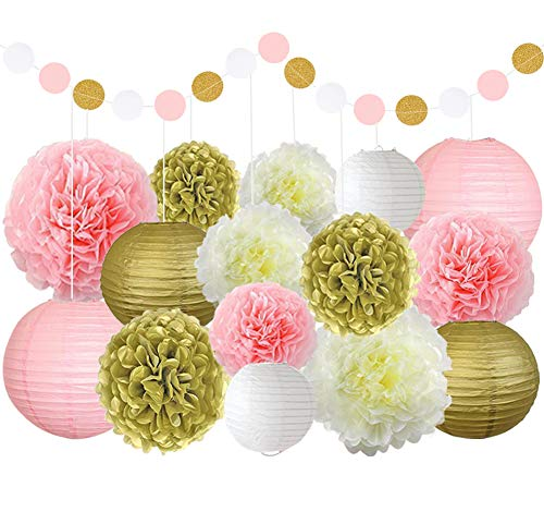 Pink White and Gold Party Decoration Set Includes Paper Lanterns Tissue Polka Dot Paper Garland for Birthday Wedding Decoration Baby Shower Party Decoration