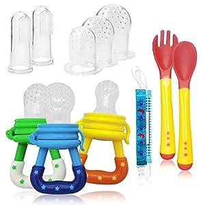 Chupete Fruta,Pinza de Chupete, Cucharas de Alimentación para bebés, Cepillo de Dedo para bebé, Funda de Silicona de repuesto(12 Piezas en Total) (multicolor)