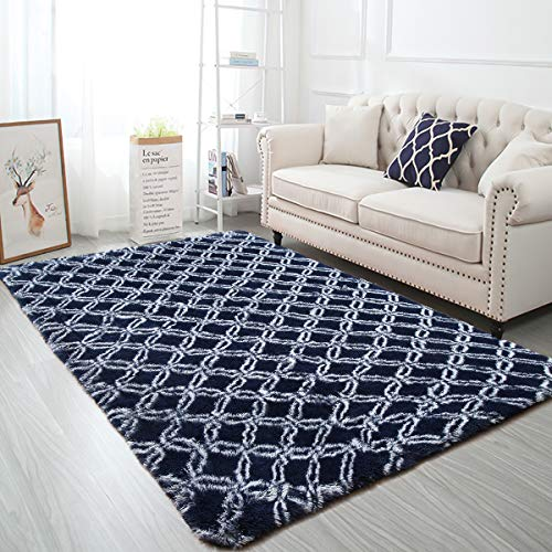 Softlife Fluffy Bedroom Area Rugs 5 x 8 Feet Geometric Collection Rug Mordern Indoor Shaggy Carpet for Girl Kid Room Dorm Nursery Home Holiday Decor, Navy Blue & White