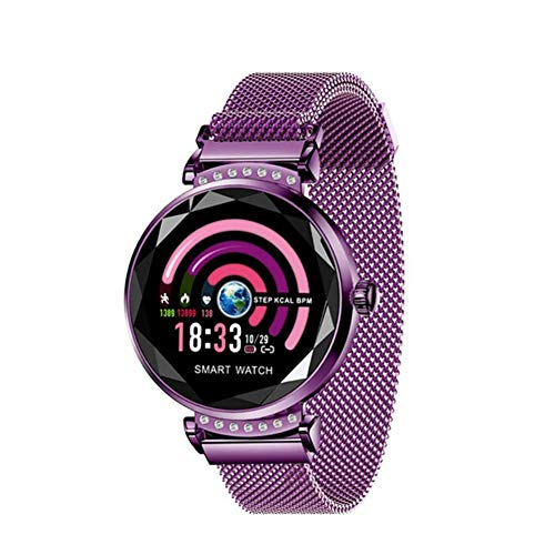 GWAZCV Multi-Function Watch Fashion H2 Smart Watch Women Ladies Waterproof Fitness Tracker Heart Rate Blood Pressure 3D Diamond Glass Best Gift Unisex (Color : B)