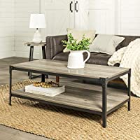 Walker Edison Furniture Rectangle Wood & Metal Frame Coffee Table